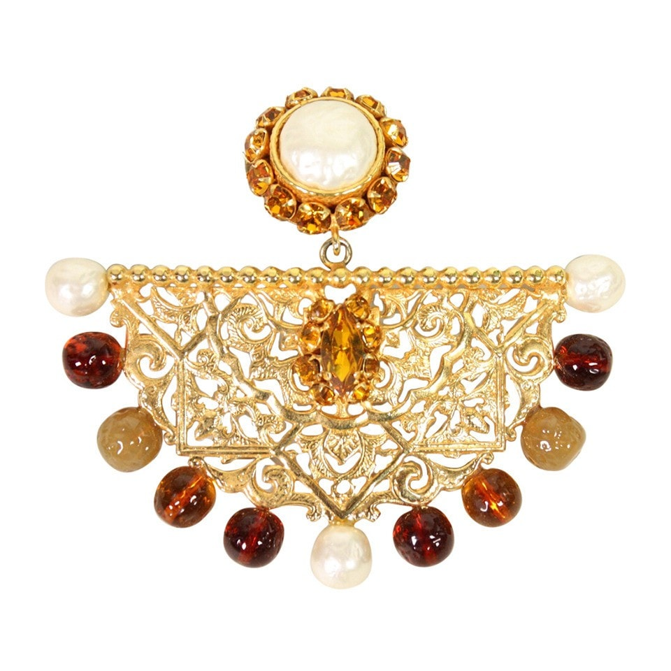 Vintage Clothing: 1980's Dominique Aurientis Gold-Toned Filigree Brooch