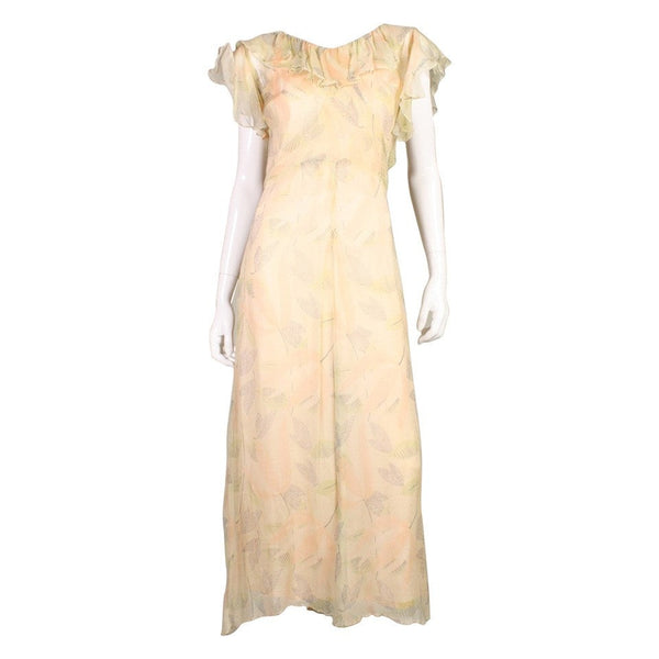 1930's Dress Floral Printed Chiffon Vintage - regenerationvintageclothing