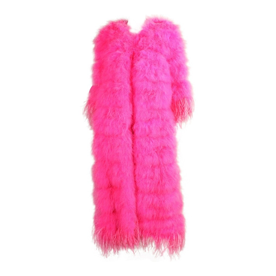 Vintage Clothing: 1970's Full-Length Hot Pink Marabou Coat with Ostrich Feather Trim