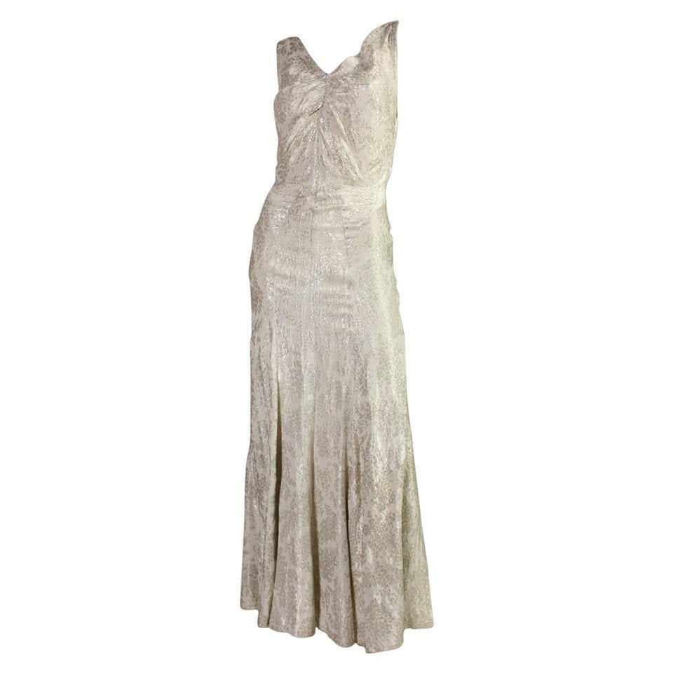 Vintage Dresses: 1930's Bias Cut Lame Gown