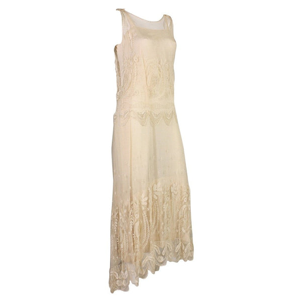 Vintage Edwardian Cream Net Dress with Embroidery