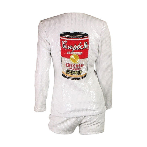 Jeanette Ensemble 1990's Campbell's Soup Sequined Vintage - regenerationvintageclothing