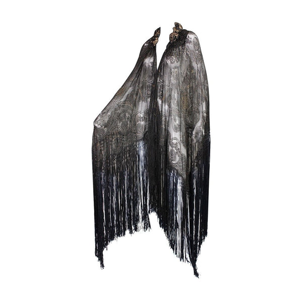 Vintage 1920's Fringed Lace & Lamé Cape