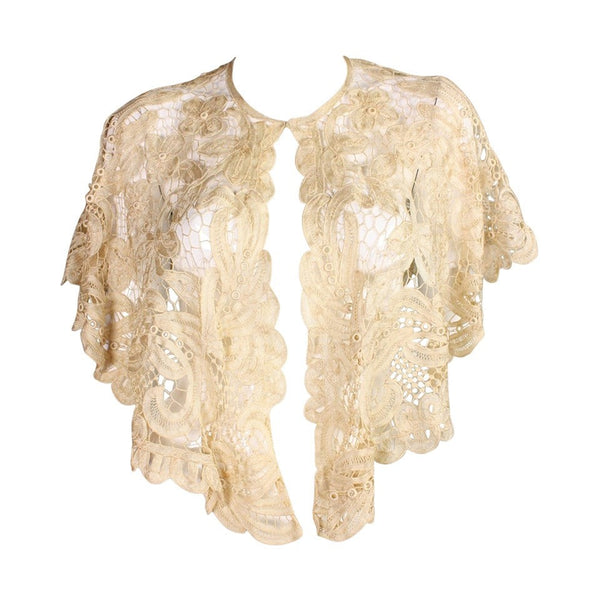 Vintage Clothing: Edwardian Battenburg Lace Capelet