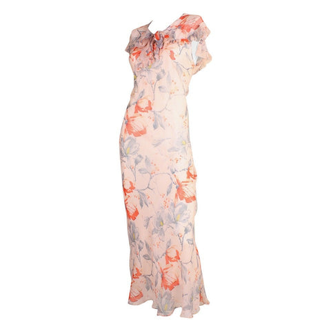 Vintage Dresses: 1930's Silk Chiffon Floral Bias-Cut Dress
