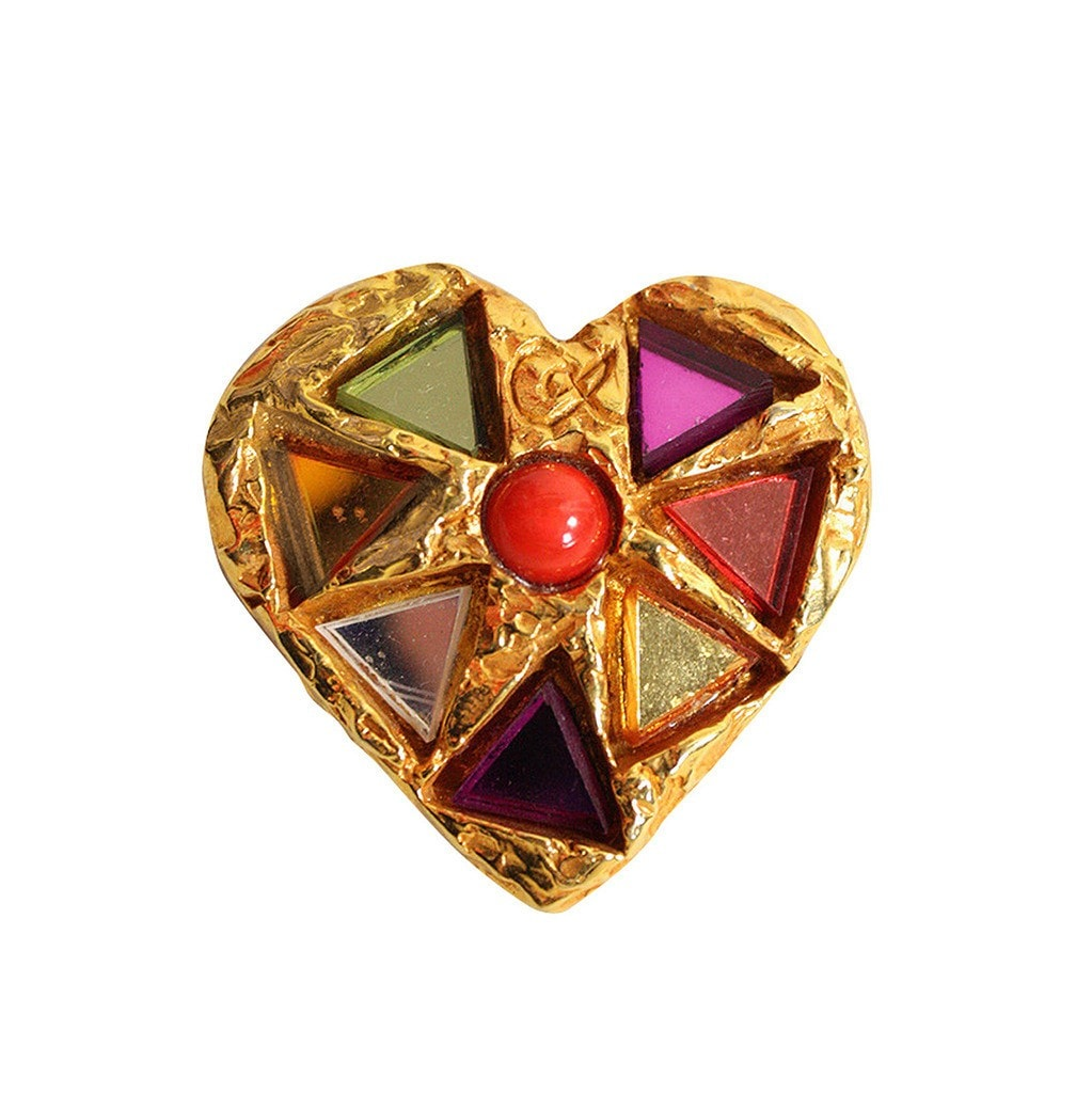Vintage Jewelry: 1990's Christian Lacroix Heart Brooch with Glass Inlay