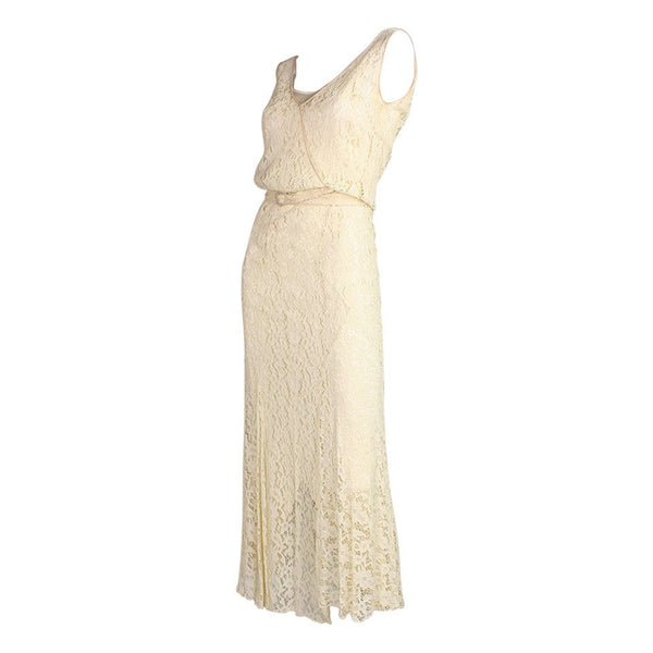 1930's Dress Ivory Lace Vintage - regenerationvintageclothing