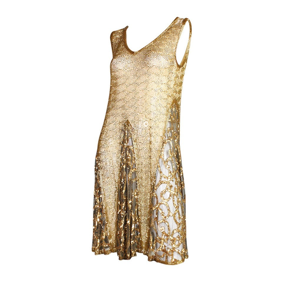 Vintage 1920's Gold Beaded & Sequined Dress