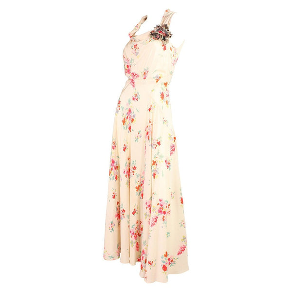 Vintage Dresses: 1930's Floral Bias Cut Gown