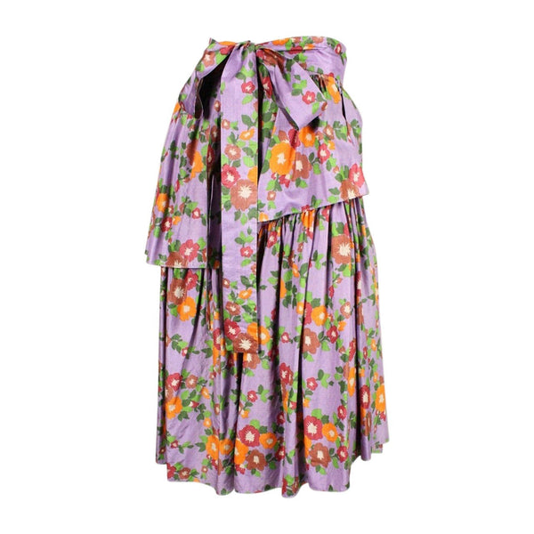 Yves Saint-Laurent Skirt 1970's Silk Floral Vintage - regenerationvintageclothing