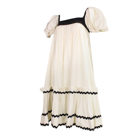Yves Saint-Laurent Dress 1970's Cotton Peasant Vintage - regenerationvintageclothing