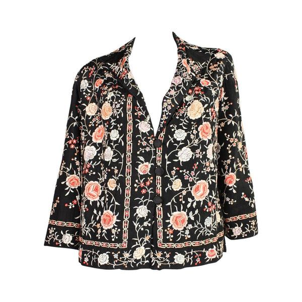1920's Jacket Silk with Floral Embroidery Vintage - regenerationvintageclothing