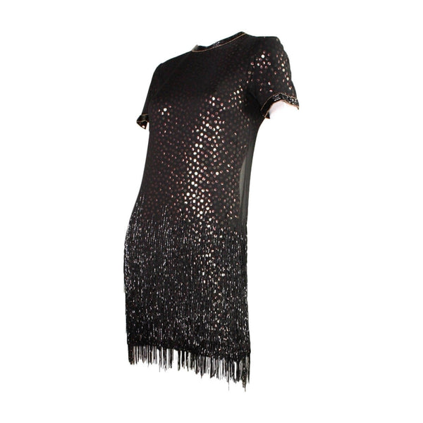 Vintage Dresses - 1980's Bob Mackie Sequined Dress with Beaded Fringe