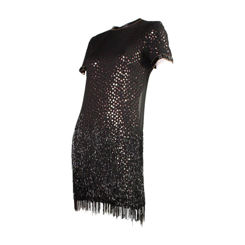 Vintage Dresses - Vintage 1980's Bob Mackie Sequined Dress with Beaded Fringe