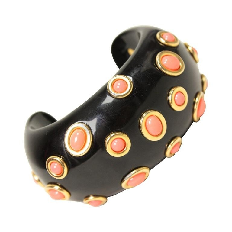 Vintage Clothing: Kenneth Jay Lane Cuff with Coral Cabochons