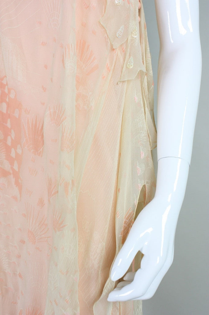 Zandra Rhodes Gown 1970's One-Shouldered Vintage - regenerationvintageclothing