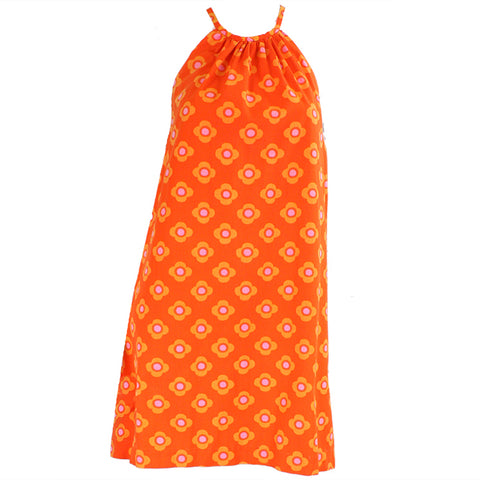 Vintage 1960's Orange Cotton Halter Dress
