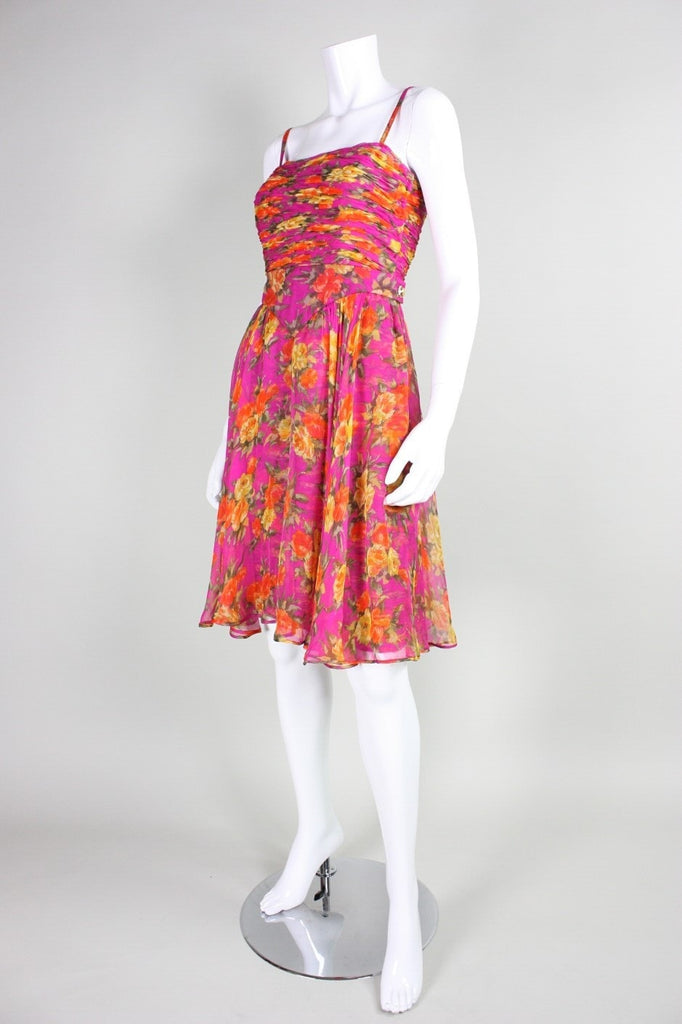 Valentino Cocktail Dress 1990's Floral Printed Silk Chiffon Vintage - regenerationvintageclothing