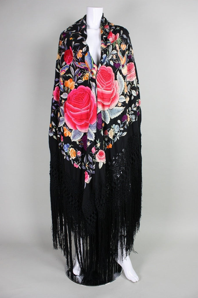 Vintage 1920's Black Piano Shawl with Multicolored Embroidery