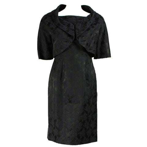 Vintage Dresses - 1950's Black Jacquard Cocktail Dress With Bolero