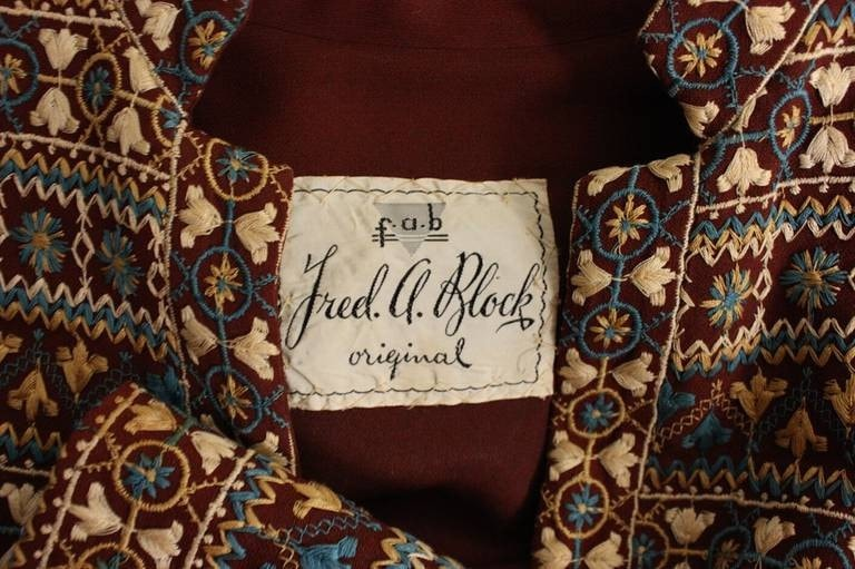 Fred A. Block Jacket 1940's Embroidered Vintage - regenerationvintageclothing