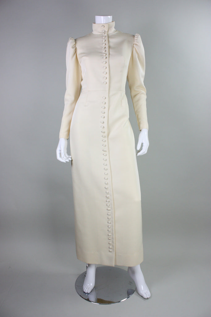 Lanvin Gown 1970's with Button Front & Exaggerated Sleeves Vintage
