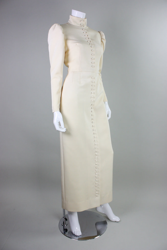 Lanvin Gown 1970's with Button Front & Exaggerated Sleeves Vintage - regenerationvintageclothing