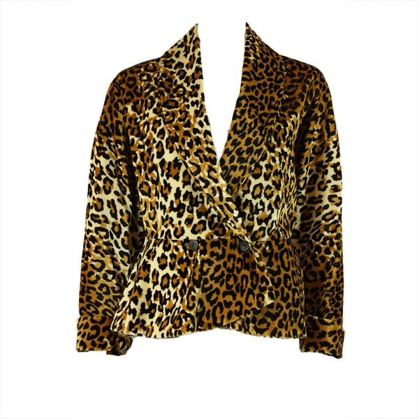1980's Jacket Leopard Print with Dolman Sleeves Vintage - regenerationvintageclothing