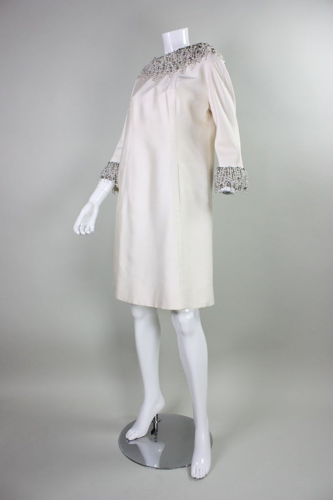 1960's Cocktail Dress Cream with Heavily Beaded Fringed Trim Vintage - regenerationvintageclothing