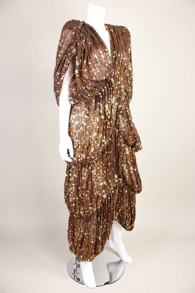Norma Kamali OMO Coat 1970's Sequined Bubble Layered Vintage - regenerationvintageclothing