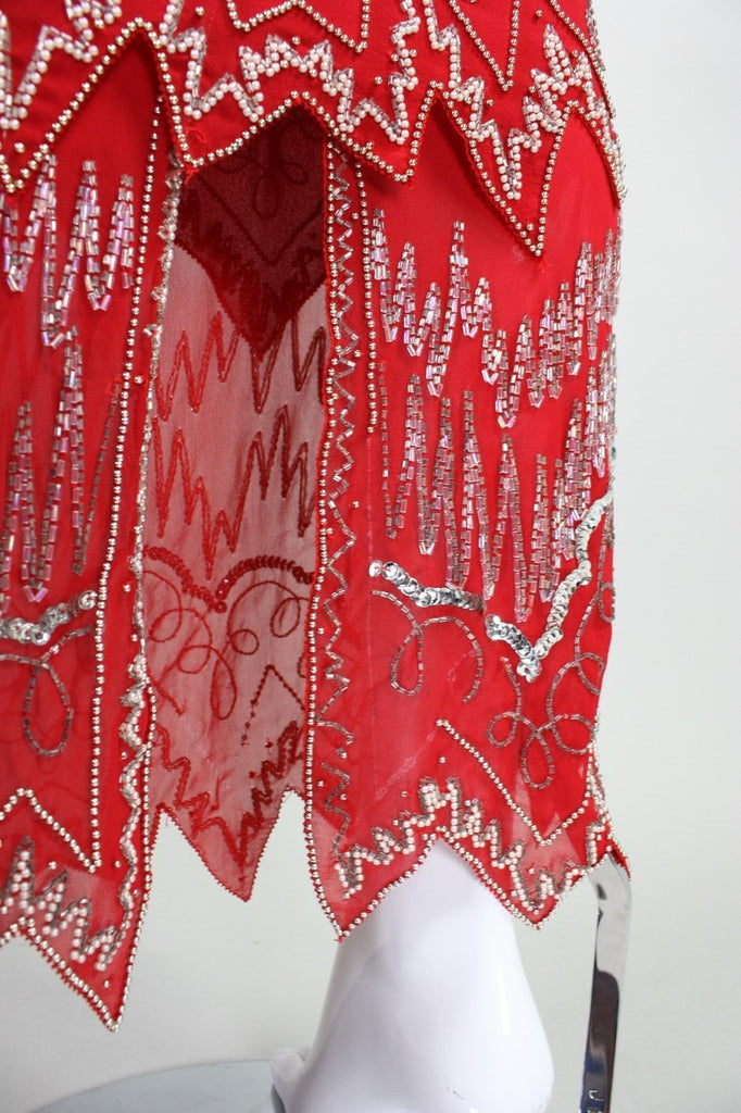 Fabrice Ensemble 1980's Red Sequined & Beaded Vintage - regenerationvintageclothing