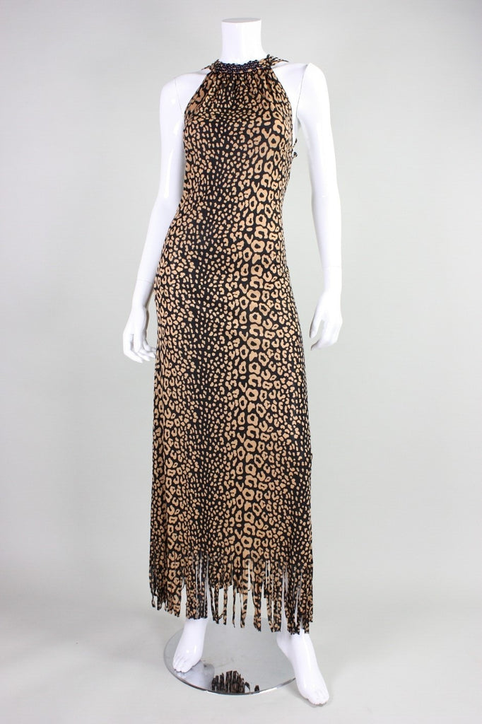 Loris Azzaro Gown 1970's Leopard-Printed Jersey with Beaded Lattice Back Vintage - regenerationvintageclothing