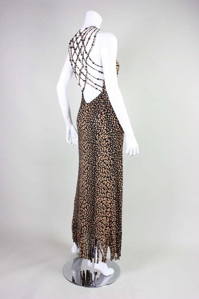 Vintage 1970's Loris Azzaro Leopard-Printed Jersey Gown with Beaded Lattice Back