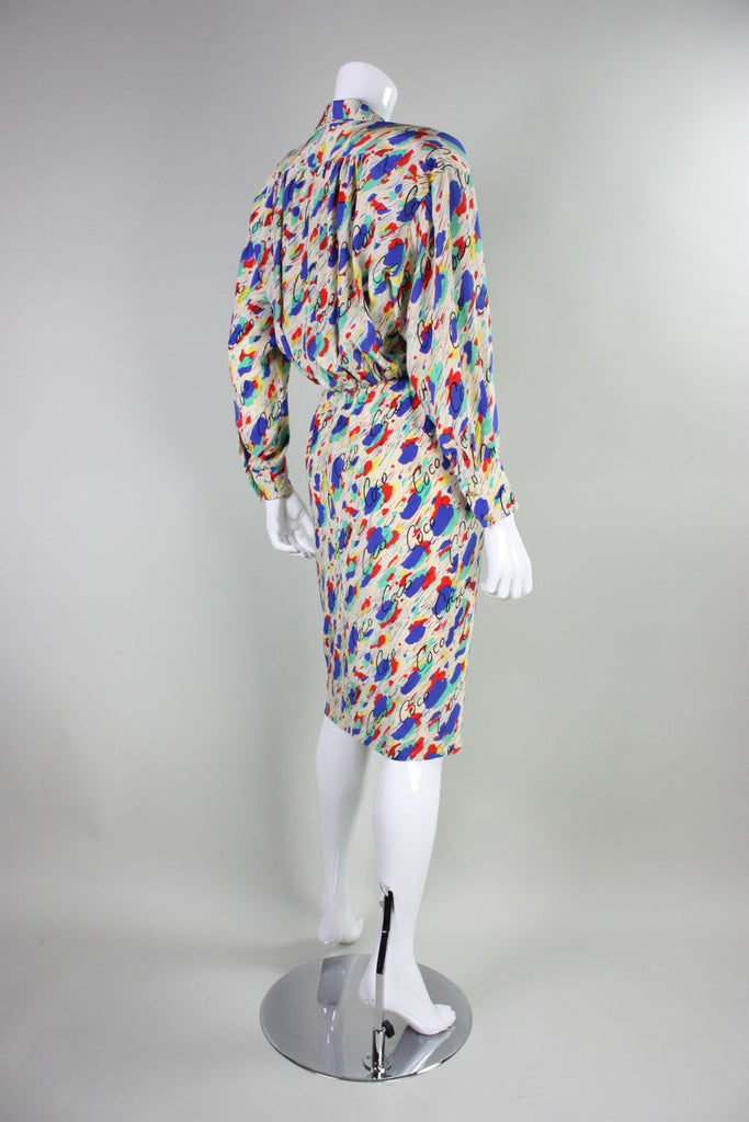 Chanel Dress 1980's Silk with Painterly Coco Print Vintage