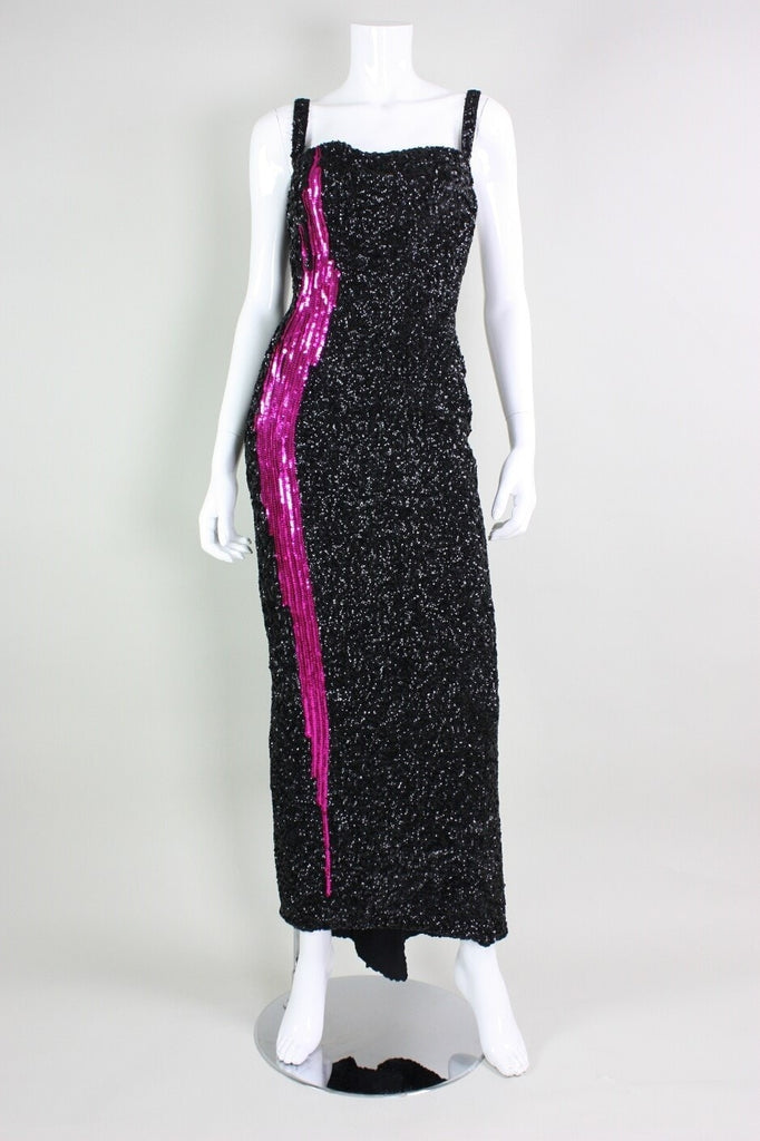 Vintage 1950's Mr. Blackwell Black Sequined Bombshell Gown