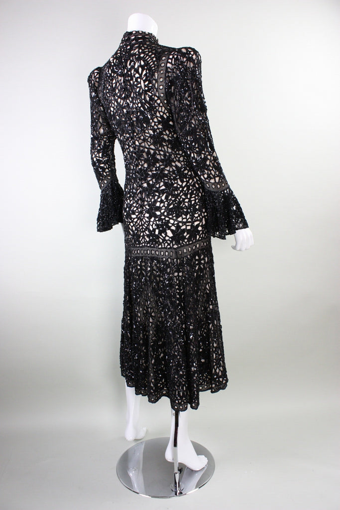 Eavis and Brown Dress Beaded Lace Evening Vintage - regenerationvintageclothing