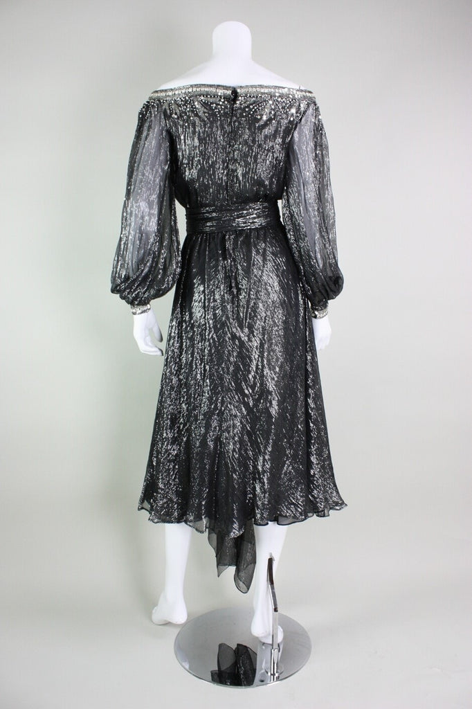 Nolan Miller Cocktail Dress with Sequined Detailing Vintage - regenerationvintageclothing