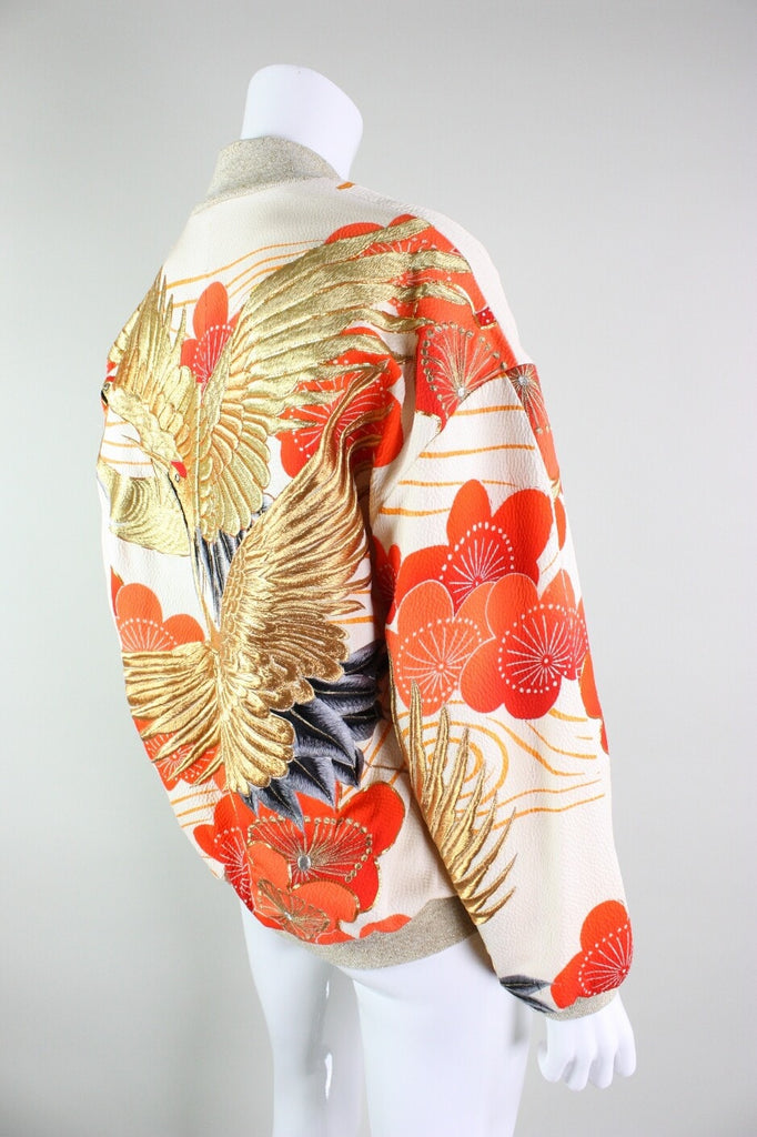 Japanese Kimono Embroidered Bomber Jacket Vintage - regenerationvintageclothing