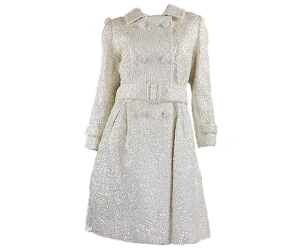 1960's Chez Royale Sequined Wool Trench Coat