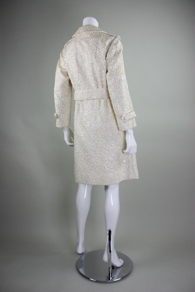 1960's Trench Coat Chez Royale Sequined Wool Vintage - regenerationvintageclothing