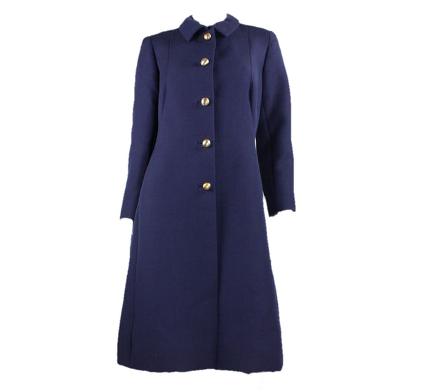 Eisa Coat Early 1960's Navy Wool by Balenciaga Vintage - regenerationvintageclothing