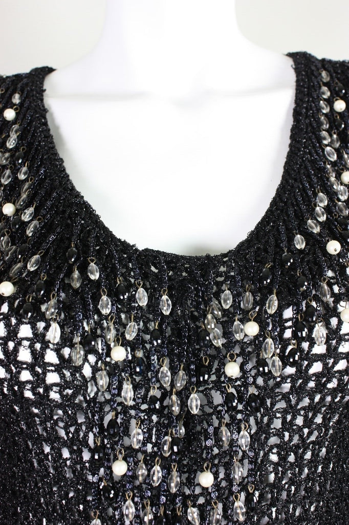 Loris Azzaro Cardigan 1970's Black with Beaded Fringe Vintage - regenerationvintageclothing