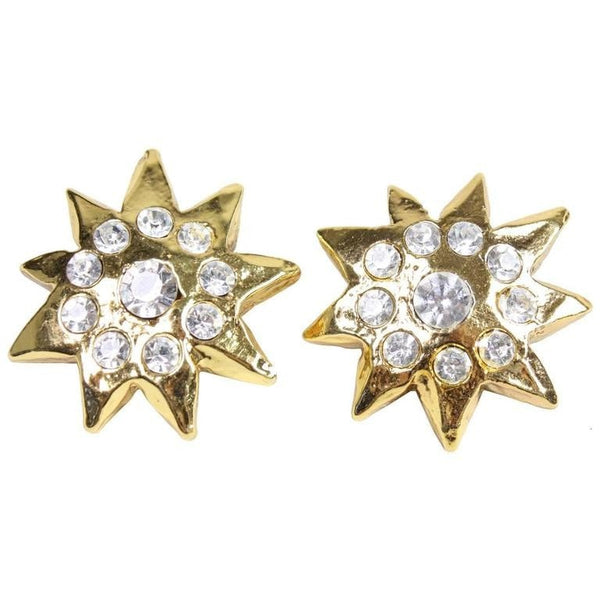 Christian Lacroix Earrings Starburst Rhinestone Vintage - regenerationvintageclothing