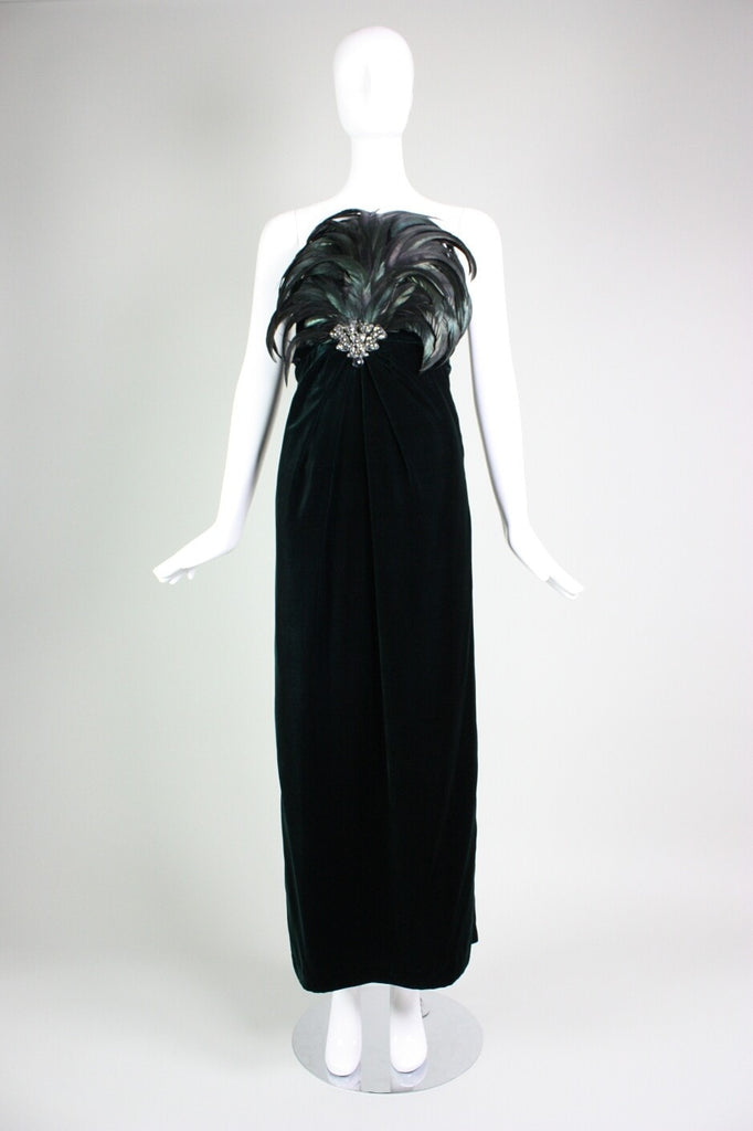 Vintage 1980's Bill Blass Velvet Gown with Dramatic Feathered Bodice