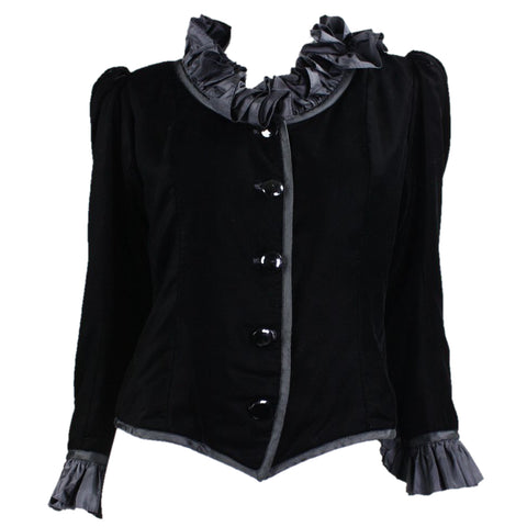 Yves Saint-Laurent Jacket 1980's Black Velvet with Ruffle Detailing VTG - regenerationvintageclothing