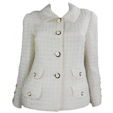Chanel Jacket 1990's Cream Bouclé with Grosgrain Trim Vintage - regenerationvintageclothing