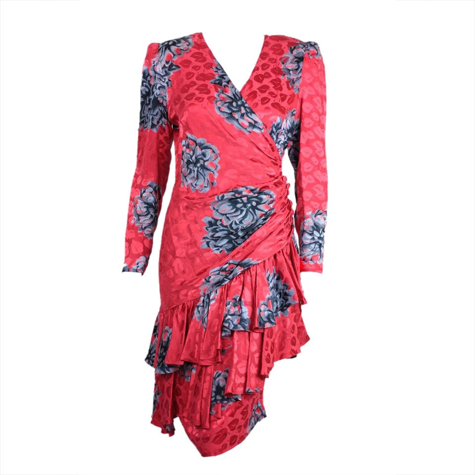Vintage Dresses - 1980's Red Silk Jacquard Dress