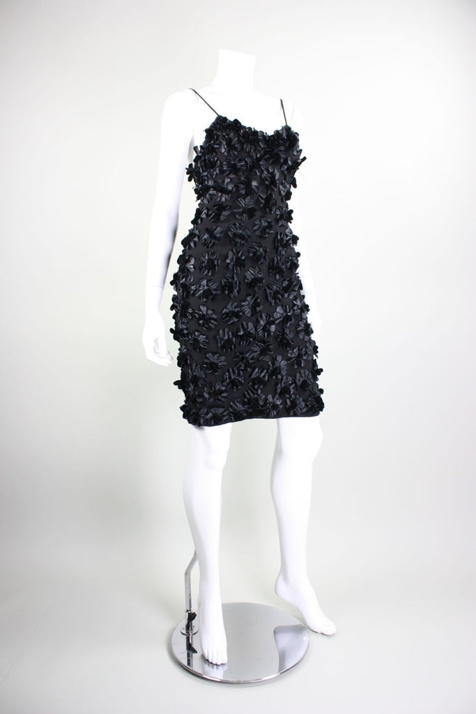 1960's Black Dress With All-Over Floral Applique