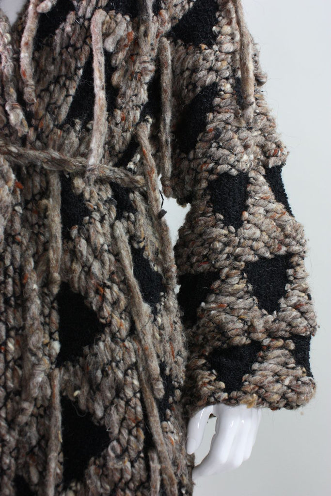 Gunn-Trigere Coat 1980's Textured Wool Bouclé with Yarn Fringe Vintage