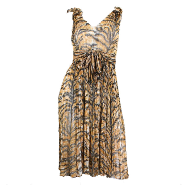 1970's Dress Tiger Print Cotton Gauze Day Vintage